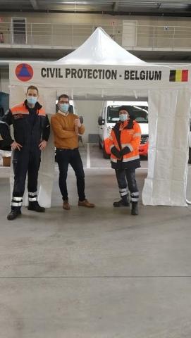 Tentes pliantes personnalisées pour La protection Civile Belge - Promatome